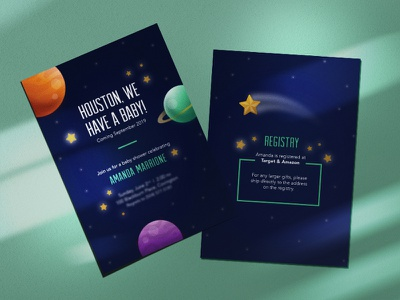 Spacing Out postcard print vector illustration cosmic shooting star star stars planets space baby shower baby invitation invite