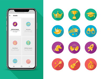 HMH Now Icons vector illustration ui vector mobile app illustration icon set mobile app badges badge icons icon