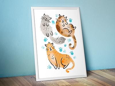 Family Paw-trait digital illustration illustration ipad pro procreate pets christmas gift pet portrait kitties kittens kitten cats cat