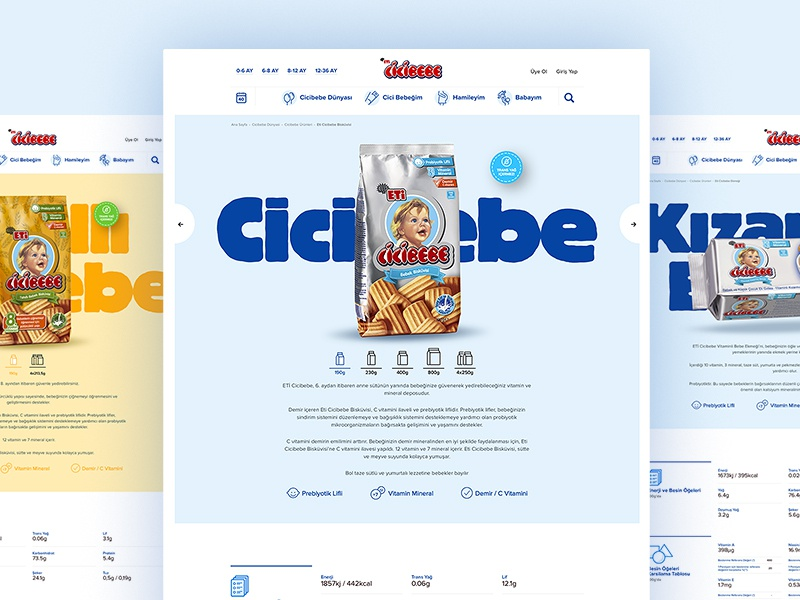 Product Page's — 👶 Eti Cicibebe ui ux concept content home page interaction web web site