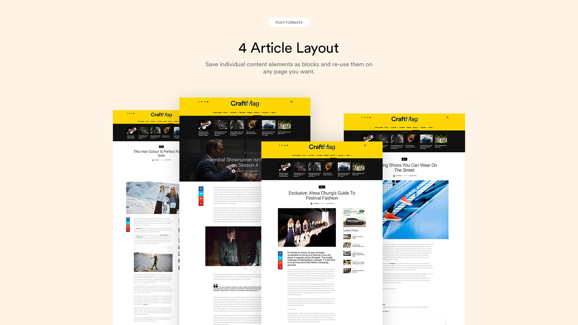4 article layout