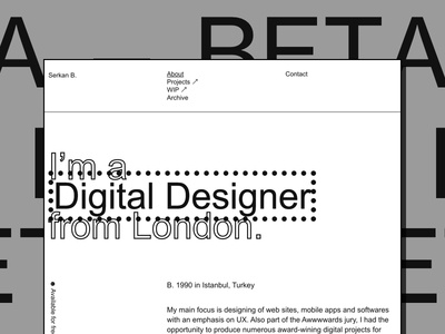 Personal portfolio —BETA brutalist works portfolio lettering type flat web branding ux typography ui design