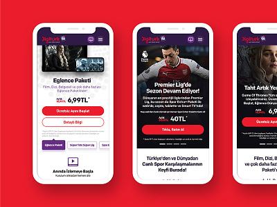 DigiturkPlay — Mobile responsive mobile web site concept minimal clean ux ui