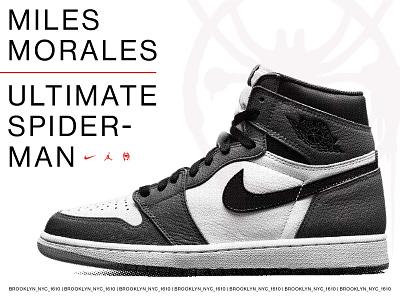 Miles Morales Jordan 1 swiss design swiss halftone poster print advertising print ad spider-man marvel nike shoe jordan type typography logo branding vector illustration design graphic design