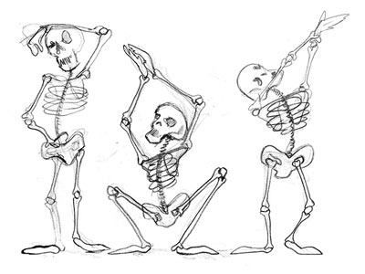 dancing skeletons illustration pencil skeletons halloween