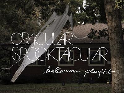 oracular spooktacular album artwork hand lettering halloween ghosts typography retro