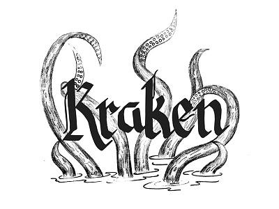 Kraken, take 2 watercolor pencil inking drawing process blackletter typography illustration