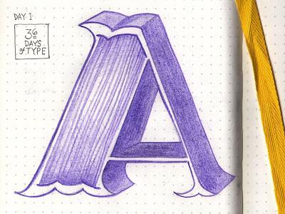Letter A alphabet 3d sketchbook illustration design type typography lettering