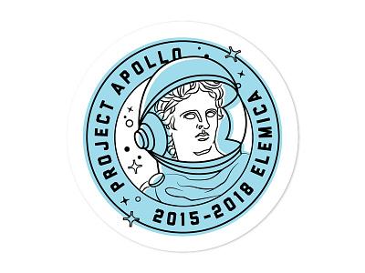 Final Logo design illustration flat design off set color line art stamp space apollo branding logo