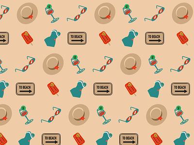 Summer beach repeat illustrator pattern repeat illustration vector graphic design design