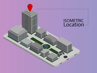 Isometric Location flat icon animation illustrator illustration graphic design app vector design