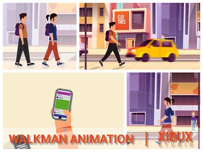 INTRO WALKMAN ANIMATION animated gif character animation characterdesign flat  design flat flat design flatdesign animated vector illustration animations design graphicdesign animation design 2danimation animation