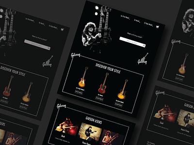 Gibson Web Design website design music app uiuxdesign guitar fanart webdesigner web design webdesign website web userinterfacedesign userinterface userexperience uiux music gibson