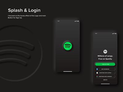 Splash & Login - Spotify Neumorphism UI Redesign Project redesign dark mode neumorphism ui neumorphic design neutral neumorphic neumorphism neumorph uiux uidesign ui ui  ux design ui kit ui  ux ui design ui ux