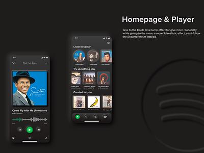 Homepage & Player - Spotify Neumorphism UI Redesign dark mode app adobexd neumorphic design neumorphic spotify cover spotify redesigned redesign concept redesign ui  ux uiux uidesign ui design ui