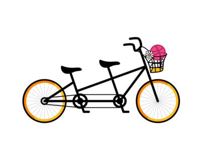 Daisy daisy bike bicycle tandem illustration