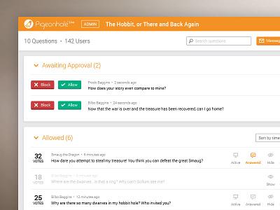 Pigeonhole Live Admin Panel ui qa comments question filter
