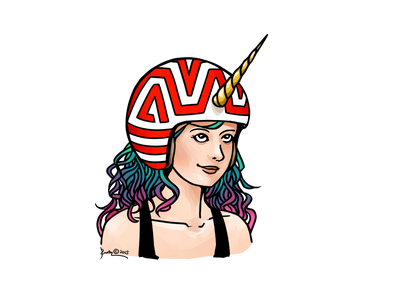 The Unicorn Designer unicorn designer design girl helmet horn illustration