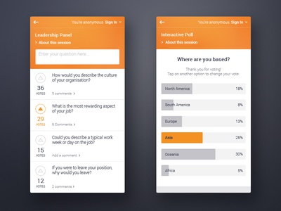Pigeonhole Live Q&A and Poll web mobile ui clean question poll phone app