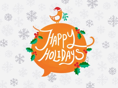 Happy Holidays! bird snowflakes speech bubble mistletoe holly holidays christmas