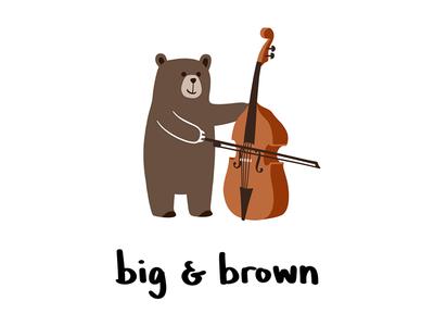 big & brown orchestra string bass doublebass bear illustration