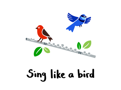 Sing like a bird music orchestra leaves flute birds