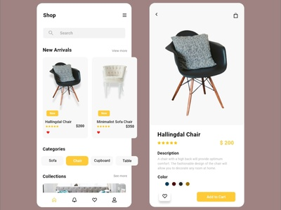 E-Commerce App Furniture Shop UI Design ux research web ui app design landing page website mobile ux mobile ui uiux typography design branding ux ui