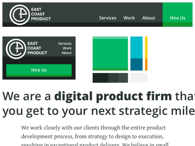 East Coast Product redesign - Elements 1 typography color palette navigation website redesign