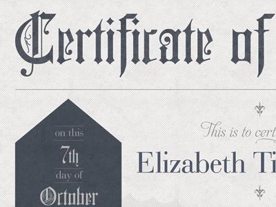 Certificate of Ordination