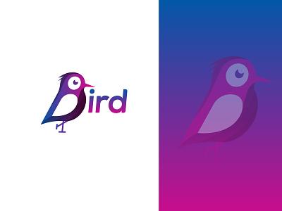 B Bird Logo Concept gradient logo gradients cute peace bird logo minimal branding illustration graphic design design beautiful logo