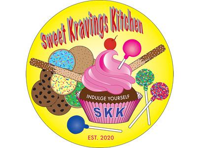 SWEET KRAVINGS KITCHEN web animation pops cookies kitchen sweets vector design illustration branding logo