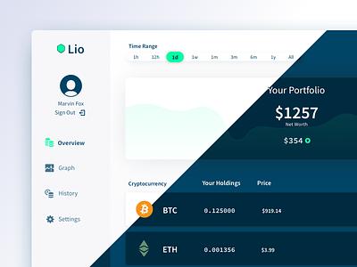 Lio Light & Dark Theme tap five theme blockstack lio portfolio cryptocurrency