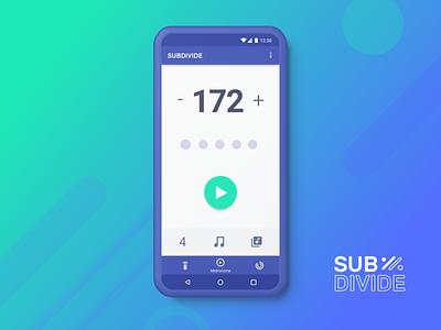 Subdivide Metronome UI ui tap five subdivide metronome app android