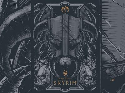 Skyrim screen silk poster skyrim print illustration vector