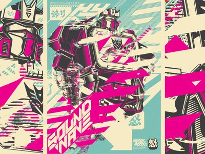 Soundwave screent silk poster kanji japan deconstructed sound wave transformers print illustration vector