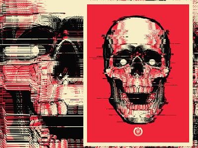 Static Skull silk screen poster glitch static vector skull