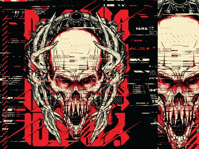 Glitch Native silk screen poster glitch static vector skull