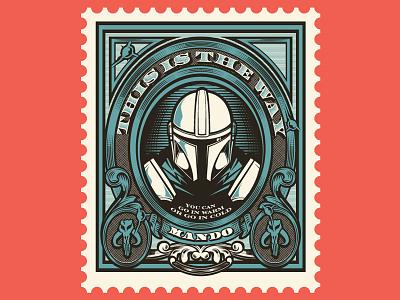 Mando Stamp stapler wars star scrollwork ornate vector stamp