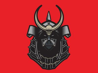 Shogun Vader mascot vector art samurai shogun wars star darth vader illustration vector