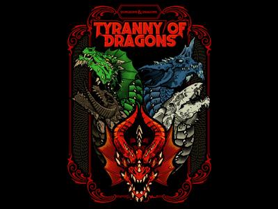 Tyranny of Dragons dungeonsanddragons tiamat dungeons dragon illustration vector