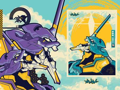 EVA01 evangelion genesis neon illustration vector