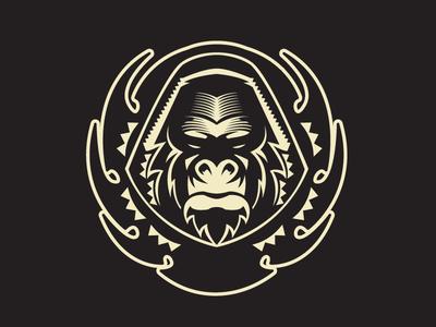 Halfton Gorilla gorilla logo illustration vector