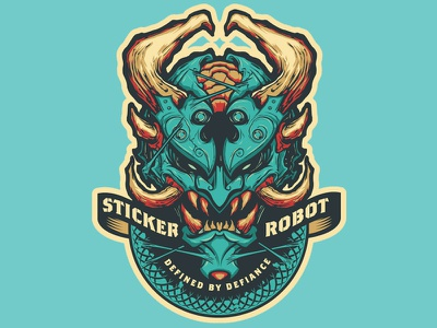 Sticker Robot Demon oni demonic demon silk screen sticker design stickerobot sticker illustration vector