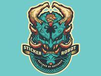 Sticker Robot Demon oni demonic demon silk screen sticker design stickerobot sticker illustration vector