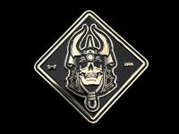 Business Card Coin card business businesscard coin skull samurai illustration vector