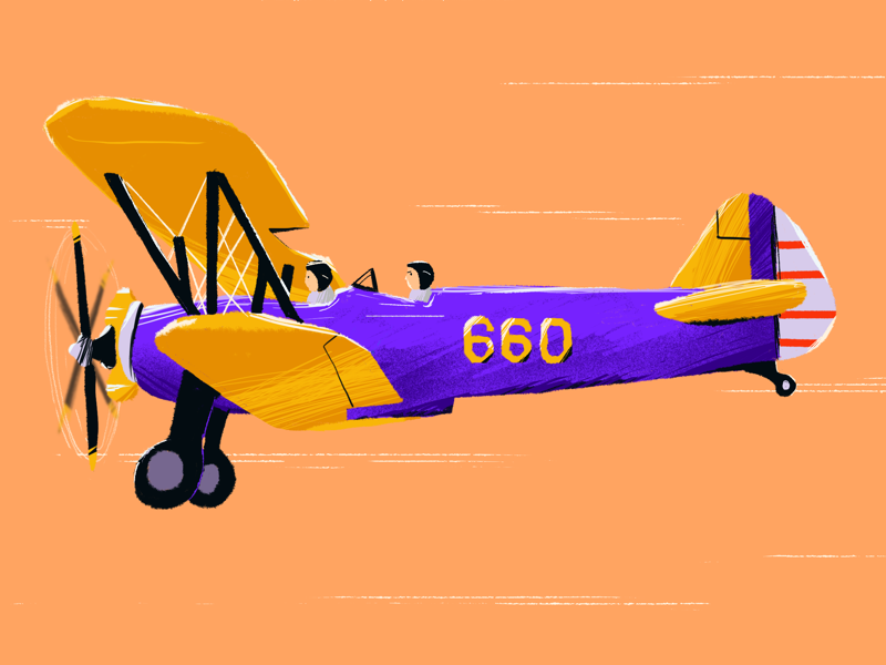 Airplane & Pilot illustration procreate