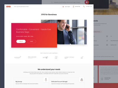 OYO for Business travel red oyorooms business travellers hotels hotels booking oyo for business oyo ux ui single page landing page