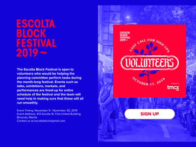 Daily UI Challenge 001 (Version 1) - Escolta Block Festival festival design dailyui 001 dailyui 001