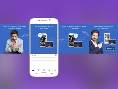 Carousal Ad Design design ad design advertising facebook ad instagram ad ads carousel ad srk vehicle security app car product automotive app android