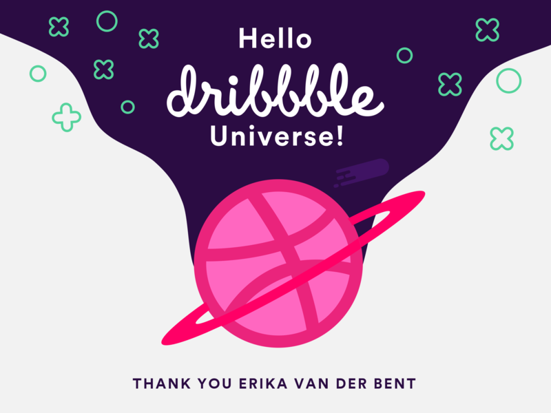 Hello Dribbble - Thanks for the Invite! new first shoot planets starry sky stars planet space universe shot thanks for the invite hello dribble dribbble invite first shot vector design illustration